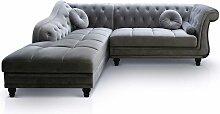 Canapé d'angle Brittish Velours Argent style