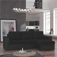 Canapé d'angle convertible noir DOUGLAS 2-L