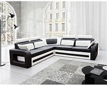 Canapé d'angle convertible noir et blanc avec