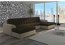 Canapé d'angle convertible panoramique marron