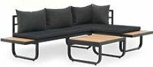 Canapé d'angle de jardin à 2 places avec