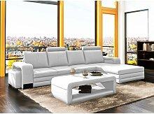 Canapé d'angle droit méridienne blanc design