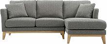 Canapé d'angle droit scandinave gris clair
