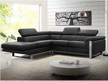 Canapé d'angle en cuir MYSTIQUE - Noir -