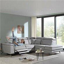 Canapé d'angle gris relax electrique ALVARO-L
