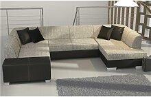 Canapé d'angle panoramique convertible gris