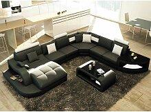 Canapé d'angle panoramique en cuir noir et