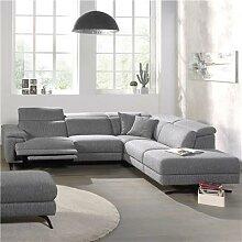 Canape d'angle relax en tissu gris MELAINE