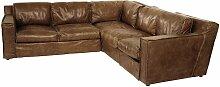Canapé d'angle vintage 4 places en cuir cognac