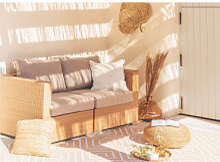 Canapé de jardin 2 places en rotin synthétique