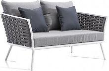 Canapé de jardin en aluminium et corde blanc et