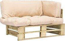 Canapé de jardin palette avec coussins Sable