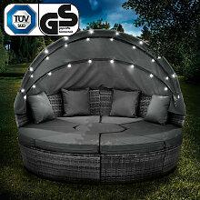 Canapé de jardin rond en gris 210cm 8 Pers.