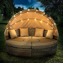 Canapé de jardin rond en marron 210cm 8 Pers.
