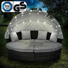 Canapé de jardin rond en noir/gris 210cm 8 Pers.