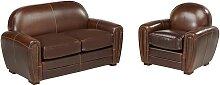 Canapé et fauteuil club BAUDOIN 100% cuir vieilli