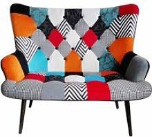 Canapé helsinki patchwork - l 118 x l 72 x h 100