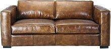 Canapé-lit 3 places en cuir marron
