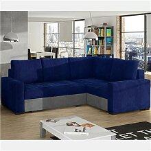 Canapé lit angle à droite bleu et gris CONORA