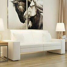 Canape-lit Cuir artificiel Blanc