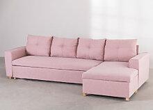 Canapé-lit Longue 4 places en tissu Calvin Rose &