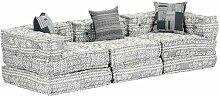 Canapé-lit modulaire à 3 places Gris clair Tissu