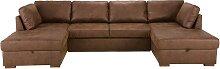 Canapé-lit panoramique 7 places en suédine marron