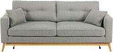 Canapé-lit style scandinave 3 places gris clair