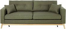 Canapé-lit style scandinave 3 places vert kaki