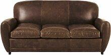Canapé-lit vintage 3 places en cuir marron