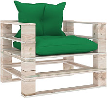 Canape palette de jardin avec coussins vert Bois