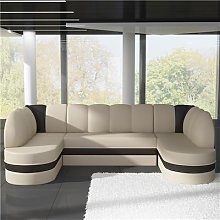 Canapé panoramique convertible beige et marron
