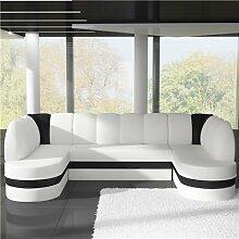 Canapé panoramique convertible blanc et noir