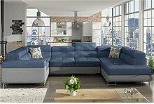 Canapé panoramique convertible bleu et gris LIAM