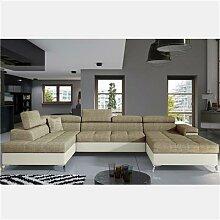 Canapé panoramique convertible en tissu beige EDNA