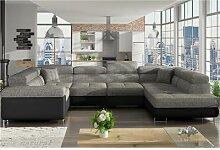 Canapé panoramique convertible gris chiné et