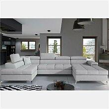 Canapé panoramique convertible gris clair EDNA