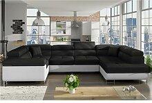 Canapé panoramique convertible noir et blanc SCOTT