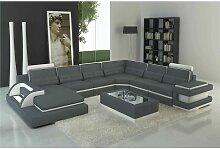 Canapé panoramique cuir gris et blanc design avec