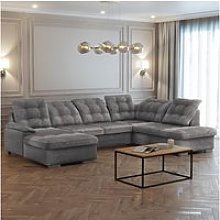 Canapé panoramique  gauche - jamaal - tissu gris
