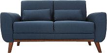 Canapé scandinave 2 places tissu bleu et noyer