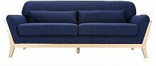 Canapé scandinave 3 places bleu foncé et bois