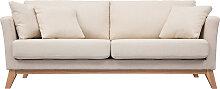 Canapé scandinave 3 places déhoussable beige et