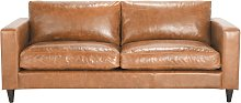Canapé vintage 3 places en cuir camel