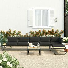 Canapes d'angle de jardin 4 pcs et coussins