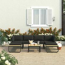 Canapés d'angle de jardin 4 pcs et coussins