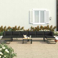 Canapés d'angle de jardin 5 pcs et coussins