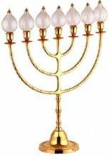 Candélabre Menorah 7 branches ampoules verre