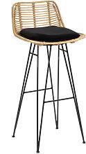 Capurgana - Chaise de bar design en rotin 75cm