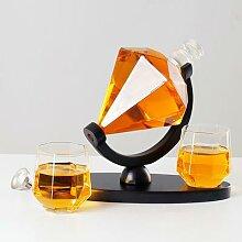 Carafe à Whisky en cristal diamant, ensemble de
